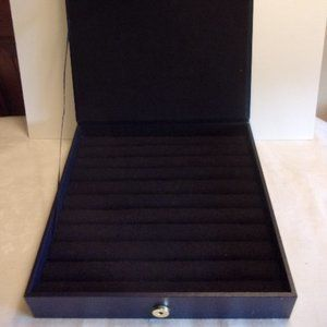 Buxton Black Vinyl Ring Jewelry Case